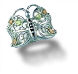 Sterling Silver Ladies Butterfly Ring with Black Hills Gold Leaves