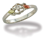 Sterling Silver Ladies Diamond Ring with Black Hills Gold Leaves