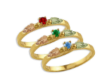 Black Hills Gold Mothers Ring with Birthstones, Stackable!