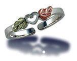 Sterling Silver Adjustable Toe Ring with Heart and Leaves
