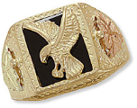 Men's Black Hills Gold Onyx Ring with Eagle in Flight