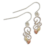 Sterling Silver Ladies Earrings with Black Hills Gold Leaves