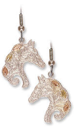 Sterling Silver Horse Earrings with Black Hills Gold Leaves