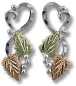 Sterling Silver Heart Earrings with Classic Black Hills Gold Leaves
