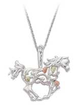 Sterling Silver Horse Pendant with Black Hills Gold Leaves
