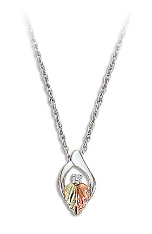 Sterling Silver Diamond Pendant with Black Hills Gold Leaves