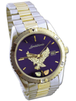 Mens Landstroms Watch with Black Hills Gold Eagle and Leaves, Metal Band