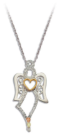 Sterling Silver Angel Pendant with Heart and Black Hills Gold Leaves