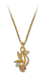 Black Hills Gold Hummingbird Heart Necklace with Black Hills Gold Leaves