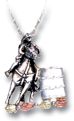 Sterling Silver Barrel Racer Pendant with Black Hills Gold Leaves