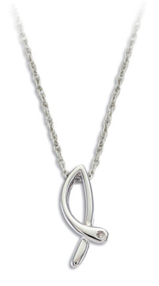 H. Sterling Silver Diamond Pendant