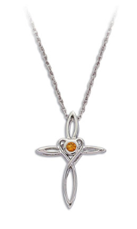Sterling Silver Cross Pendant with Yellow Montana Sapphire