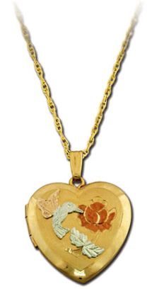 Black Hills Gold Heart Locket with Hummingbird