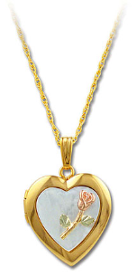 Black Hills Gold Heart Locket with Rose in Mother Of Pearl