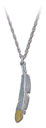Sterling Black Hills Silver Feather Pendant with Black Hills Gold Feather Tip
