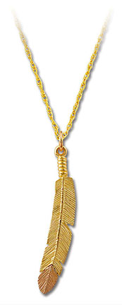 Black Hills Gold Feather Pendant