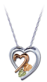 Sterling Black Hills Silver Heart Pendant with Black Hills Gold Heart