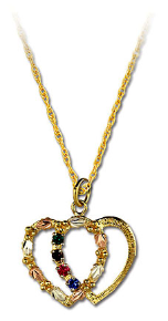 Black Hills Gold Mothers Heart Pendant with Leaves and Birthstones