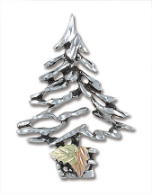Sterling Silver Christmas Tree Brooch Pin with Black Hills Gold Leaves