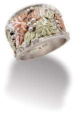 Sterling Silver Men's or Ladies UNISEX Ring with Black Hills Gold Leaves