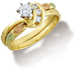Q. Ladies Black Hills Gold Wedding Set with Engagement Ring