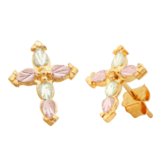 Black Hills Gold Cross Earrings, for Pierced Ears