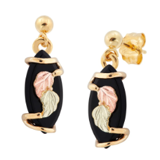Black Hills Gold Onyx Earrings with Leaves