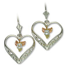 Sterling Silver Heart Earrings with Black Hills Gold Leaves and White Sapphire