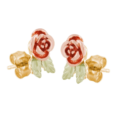Black Hills Gold Rose Earrings for Pierced Ears