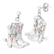 Sterling Silver Cowboy Boot Earrings with Black Hills Gold Leaves, for Pierced Ears