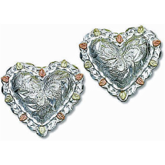 Sterling Silver Heart Earrings with Black Hills Gold Leaves, for Pierced Ears