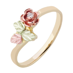 Ladies Black Hills Gold Ring with Diamond in Rose