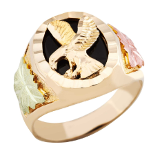 Men's Black Hills Gold Onyx Ring with Eagle