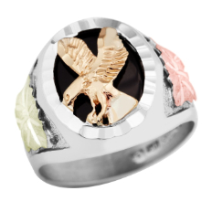 Sterling Silver Men's Onyx Ring with Eagle and Black Hills Gold Leaves