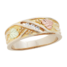 A2. Men's Black Hills Gold Wedding Band with Leaves and Diamonds
