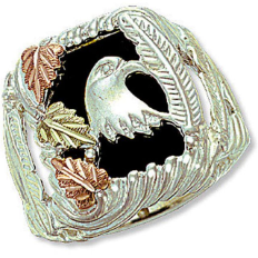Sterling Silver Men's Onyx Ring with Eagle Head and Black Hills Gold Leaves