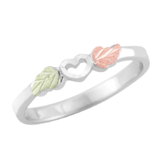 Sterling Silver Ladies Ring with Black Hills Gold Leaves and Heart