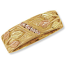 C3. Ladies Black Hills Gold Wedding Band with Leaves and Diamonds