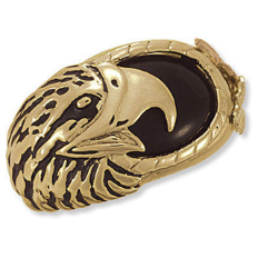 Men's Black Hills Gold Onyx Ring with Eagle's Head