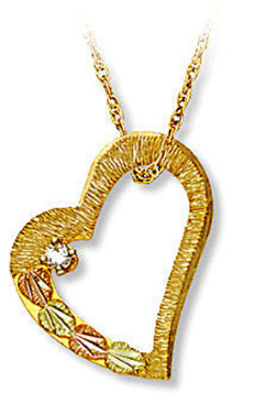 Black Hills Gold Heart Pendant with Black Hills Gold Leaves and Diamond