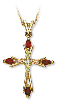 Black Hills Gold Cross Pendant with Diamond and Genuine Rubies