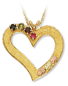 Black Hills Gold Heart Pendant with Birthstones