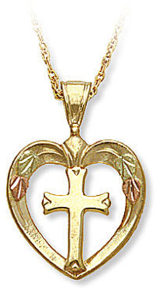 Cross in Heart Pendant, in Black Hills Gold