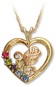 Black Hills Gold Rose in Heart Pendant with Birthstones