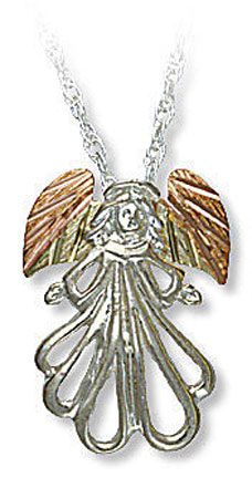 Sterling Silver Angel Pendant with Black Hills Gold Leaves