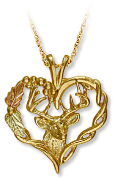 Black Hills Gold Pendant with Deer's Head and Heart