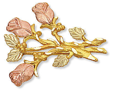 Black Hills Gold Rose Brooch Pin