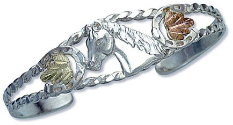 Sterling Silver Cuff Bracelet with Horse's Head and Black Hills Gold Leaves