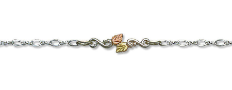 Sterling Silver Ankle Bracelet with Leaves