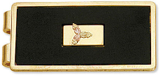 Black Hills Gold Money Clip, Black Enamel with Gold Leaves Inset